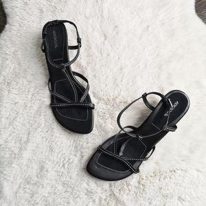 NWOT Aeorosoles Leather Strappy Kitten Heel Sandal